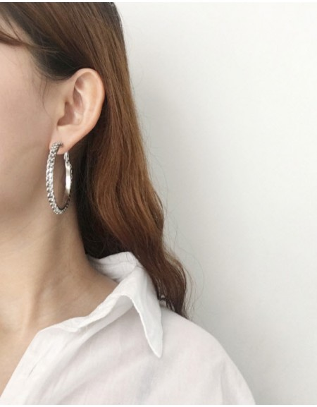 CHAIN Silver Hoop Earrings