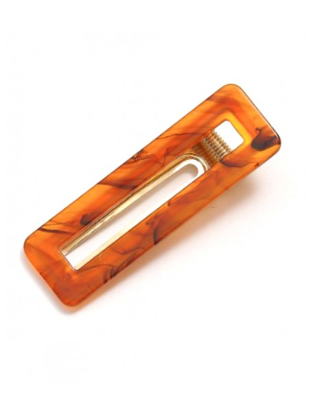 AMBER Hinged Barrette | Rectangle - Amber Brown