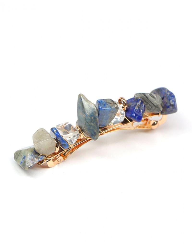 JADE Hair Barrette   Blue Natural Stones
