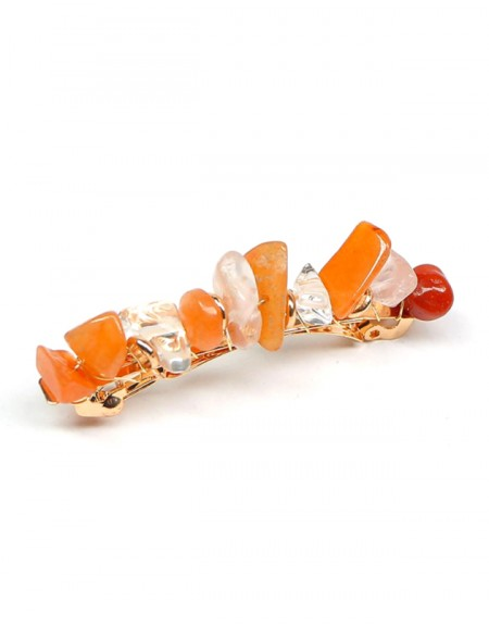 JADE Hair Barrette | Orange Natural Stones