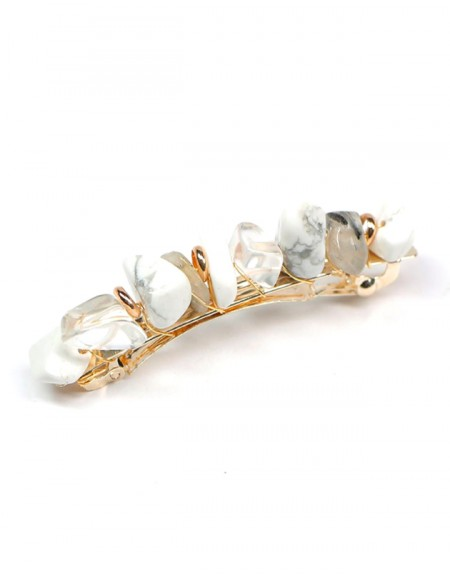 JADE Hair Barrette | White Natural Stones