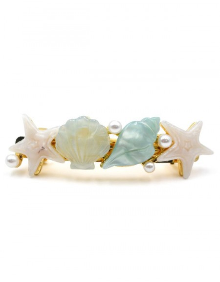 SHELL PARTY Hair Barrette   Mint