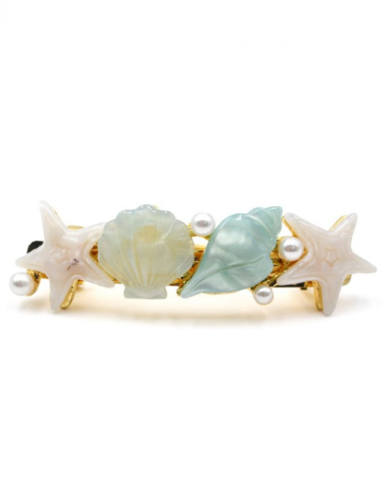 SHELL PARTY Hair Barrette | Mint